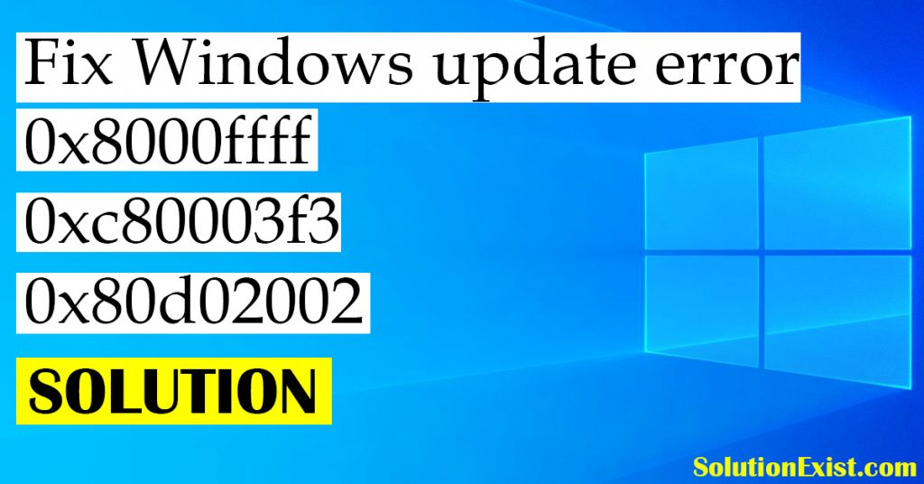 Windows error 0x8000ffff